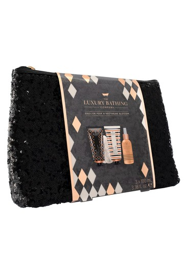 The Luxury Bathing Company Deluxe Noir - Luxury Sequin Cosmetic Bag containing 100ml Body Wash, 100ml Body Cream, 100ml Body Mist and Body Polisher