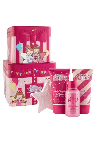 The Luxury Bathing Company Big Top - Reusable Stacking Tins with 50ml Body Wash, 50ml Body Cream, 50ml Foam Bath, 50g Star Shaped Fizzer and Body Polisher