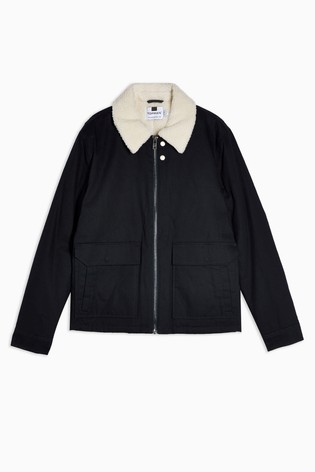 Topman Black Borg Collar Coach Jacket