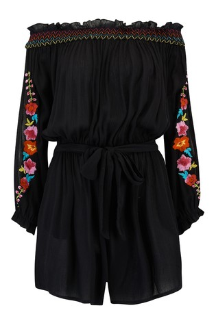 Pour Moi Embroidered Crinkle Bardot Playsuit