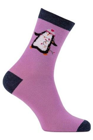 Totes Pink Purple Grey 3Pk Novelty Day Socks