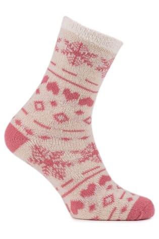 Totes Cream Chenille & Fairisle Twin Sock