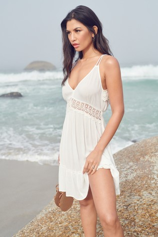 Lipsy White Lace Strappy Mini Dress