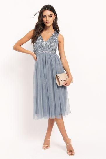 buy maya v neck sleevless sequin midi dress from the next