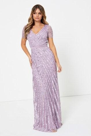 Maya Short Sleeve Stripe Sequin Maxi Dress