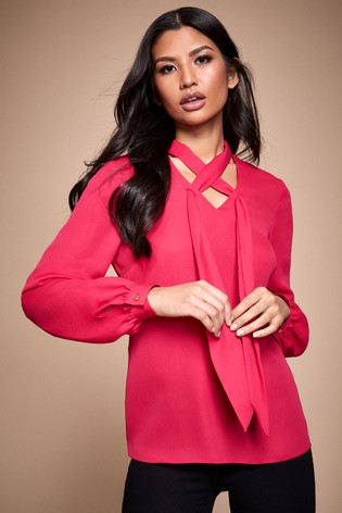 Lipsy Pink Cross Front Choker Long Sleeve Blouse