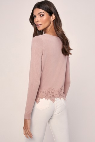 Lipsy Pink Lace Hem Button Through Knitted Cardigan
