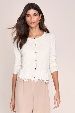 Lipsy White Lace Hem Button Through Knitted Cardigan