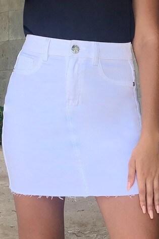 Lipsy White Denim Skirt
