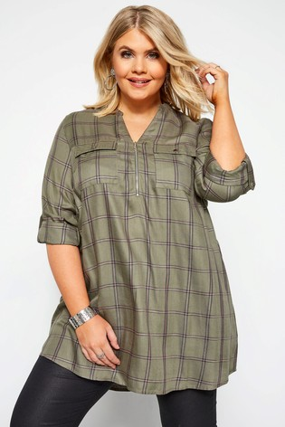Yours Grey Check Curve Shirt