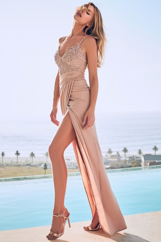 Abbey Clancy x Lipsy Embroidered Cami Maxi Dress