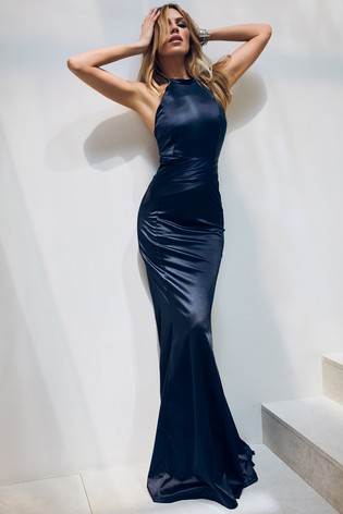 Abbey Clancy x Lipsy Navy Satin Bandage Maxi Dress