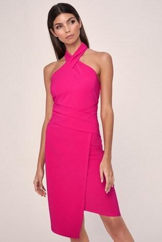 Lipsy Pink Twist Neck Bodycon Dress