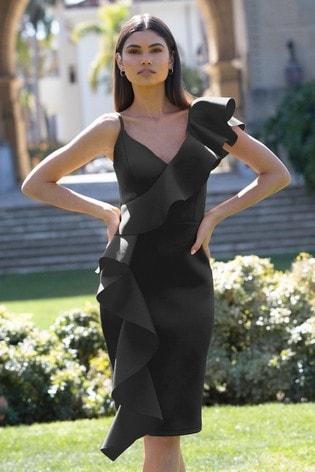 Abbey Clancy x Lipsy Black Ruffle Bodycon Dress