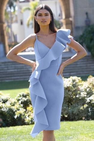 Lipsy Blue Ruffle Bodycon Dress