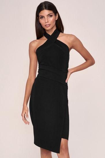 Lipsy Black Twist Neck Bodycon Dress