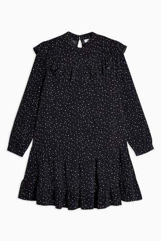 Topshop Petite Ruffle Yoke Mini Dress
