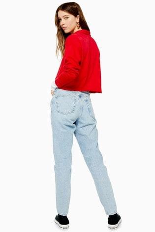 "Topshop Petite Bleach Ripped Mom Jeans 28"" Leg"