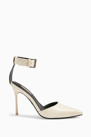 Topshop Cream Glide Ankle Strap Shoes