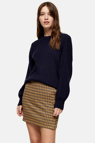 Topshop Navy Knitted Jumper With Cashmere