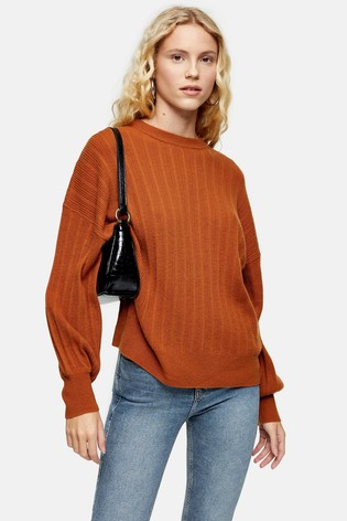 Topshop Brown Knitted Jumper With Cashmere