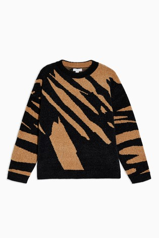 Topshop Knitted Abstract Chenille Jumper