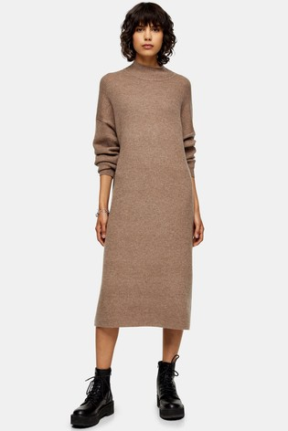 Topshop Longline Woolen Dress
