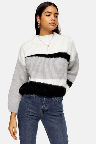 Topshop Knitted Colour Block Crop Jumper