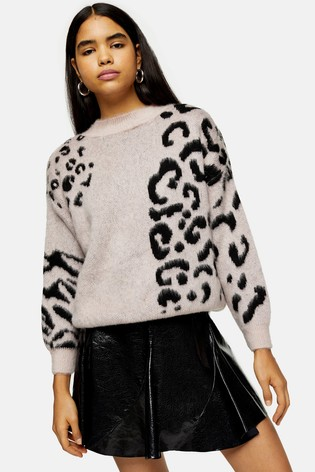 Topshop Knitted Spliced Animal Print Jumper