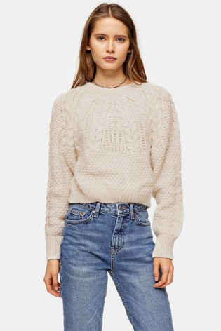 Topshop Knitted Cable Crop Jumper