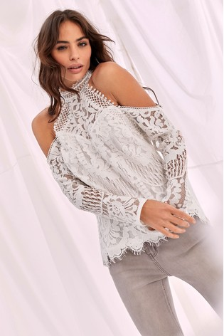 Lipsy VIP White  Lace Cold Shoulder Top