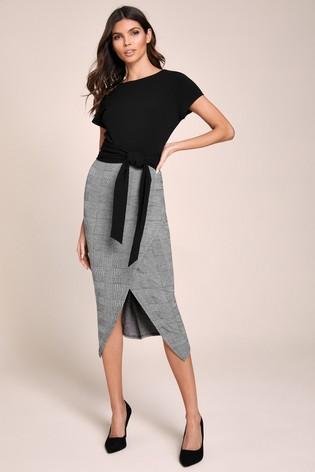 Lipsy Grey Wrap Self Tie Midi Dress