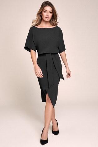 Lipsy Black Kimono Tie Waist Dress