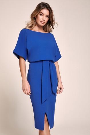 Lipsy Cobalt Kimono Tie Waist Dress
