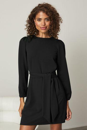 Lipsy Black Puff Sleeve Tie Waist Shift Dress