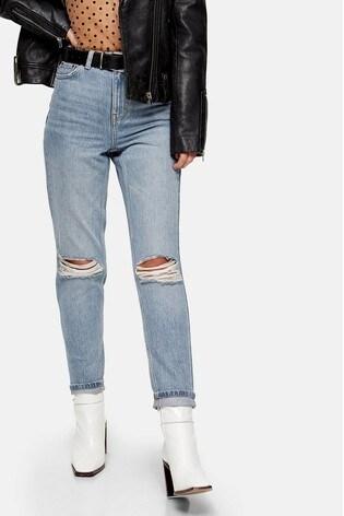 "Topshop Double Rip Mom Jeans 32"" Leg"