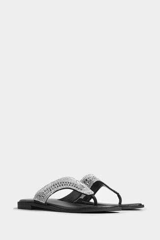 Yours Black Extra Wide Fit Diamanté Toe Post Sandals