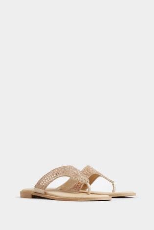 Yours Rose Gold Extra Wide Fit Diamanté Toe Post Sandals
