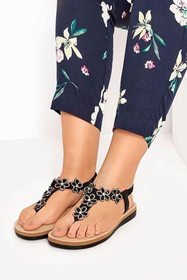 Yours Black Extra Wide Fit Optima Gem Flower Toe-Post Sandals