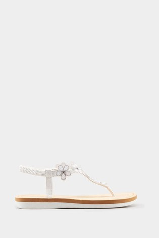 Yours White Extra Wide Fit Optima Gem Flower Toe-Post Sandals