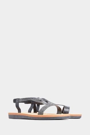 Yours Black Extra Wide Fit Curve Olivera Diamanté Loop Sandals