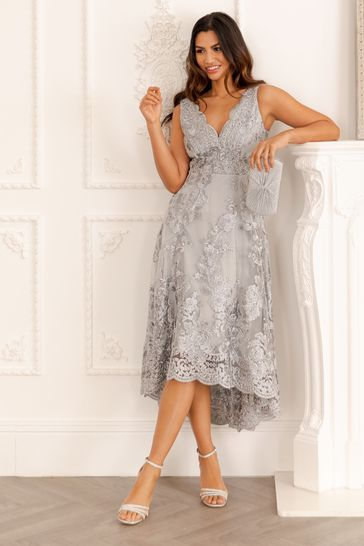 Quiz Grey Lace Bardot Dip Hem Midi Dress