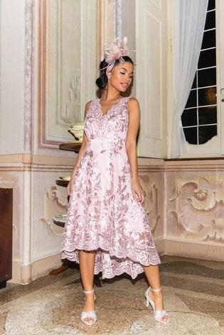 Quiz Pink Lace Bardot Dip Hem Midi Dress