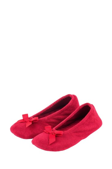 Totes Red Isotoner Terry Ballet With Bow