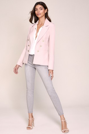 Lipsy Pink Military Tailored Button Blazer