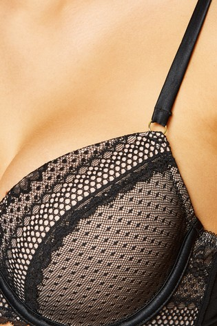 New Look Black Spot Mesh Plunge Bra