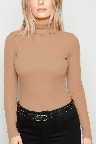 New Look Petite Ribbed Roll Neck Long Sleeve Top