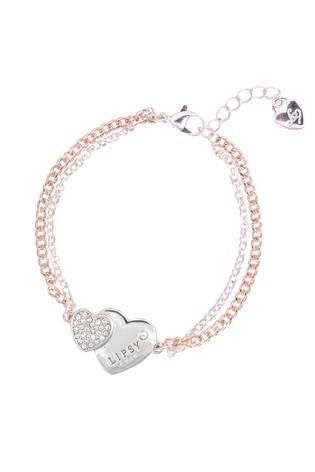 Lipsy Jewellery Silver Two Tone Double Heart Bracelet - Gift Boxed