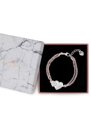 Lipsy Jewellery Silver Two Tone Double Heart Bracelet - Gift Boxed