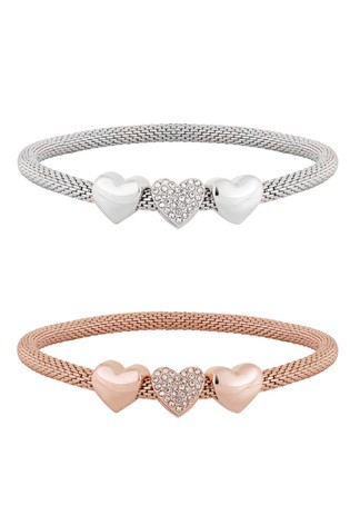 Lipsy Jewellery Two Tone Two Tone Heart Mesh Stretch Bracelets - Pack of 2 Gift Boxed